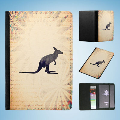 Kangaroo Australian Animal Flip Passport Wallet Organizer Cover Holder