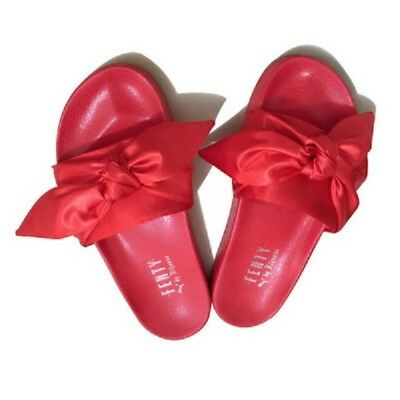 wholesale dealer a790b b0452 PUMA X RIHANNA Fenty Slides Red Slippers bow size 8.5 and size 9