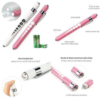 2 Pcs Medical First Aid Led Pen Light Flashlight With Pupil Gauge Pink And White