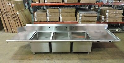 Eagle Commercial Stainless Steel 3-Compartment Dishwasher Sink w/ 2 Drainboards