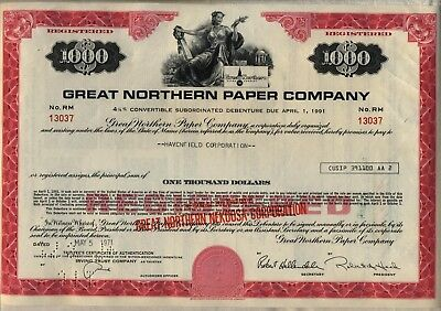 Great Northern Paper Company Bond Stock Certificate Maine