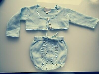 Baby girl Spanish Bonnet a pompom cardigan and bloomers knitted outfit 6 months