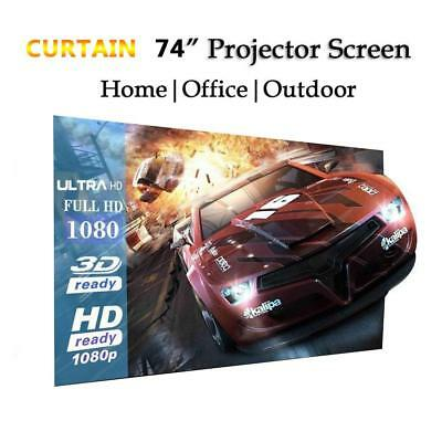 Foldable 16:9 Polyester Taffeta Projection Curtain Portable Soft Theater