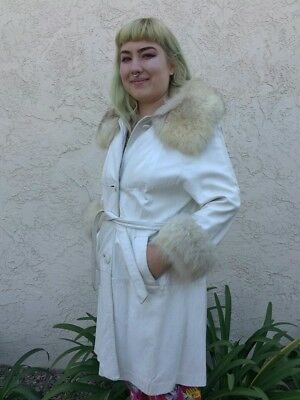 Fox and White Leather Coat  arctic fox vintage 1970s,  disco,  glam, rocker sexy