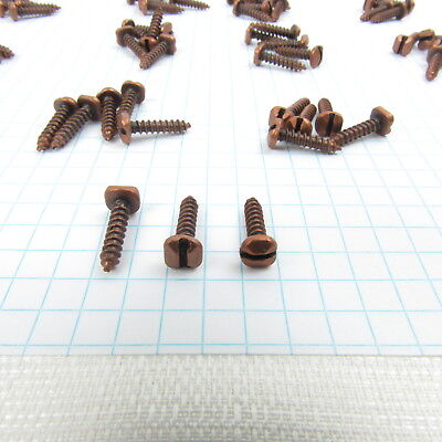 Vintage Pyramid Slotted Head Rustic Wood Screws 1/4 Inch Copper Lot Of 78