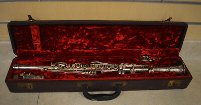 Vintage SilverTone Metal Clarinet w/ Original Case *LOOK* FREE SHIPPING