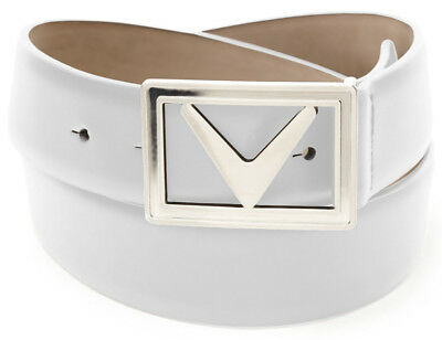 New Men's Callaway Modern Chev Bright White Leather Golf Belt Sizes 38 and 40