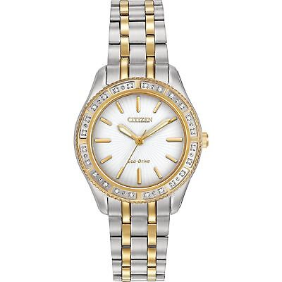 Citizen Eco-Drive Women's EM0244-55A Carina Diamond Bezel Two Tone 29mm Watch