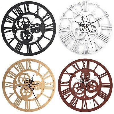 Large 32cm Classic Vintage Stunning Metal Iron Roman Numeral Wall Clock Gift New