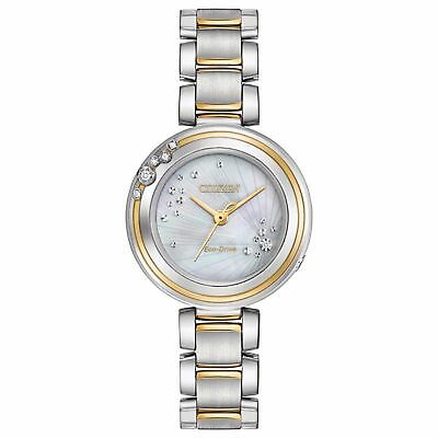 NEW*Citizen Eco-Drive EM0464-59D Ladies Carina Two Tone MOP Diamond Watch