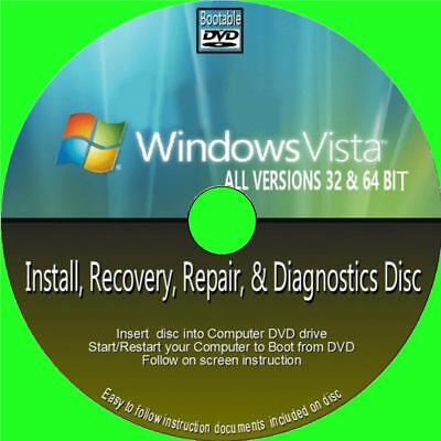 WINDOWS VISTA INSTALL RESTORE RECOVER REPAIR PC DVD ALL 32/64 Bit HOME BUSINESS