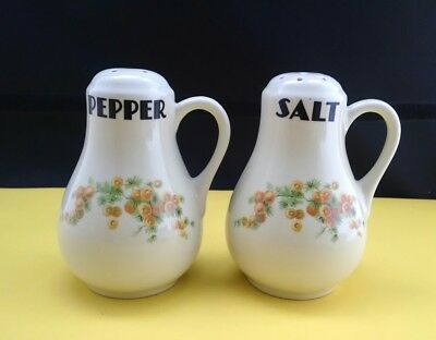 Vintage Hall Salt and Pepper Shakers  Yellow Flower Pattern Acacia
