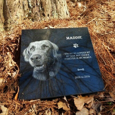 12x12 Tombstone Laser Engraved, grave marker, for human or pet, dog cat stone