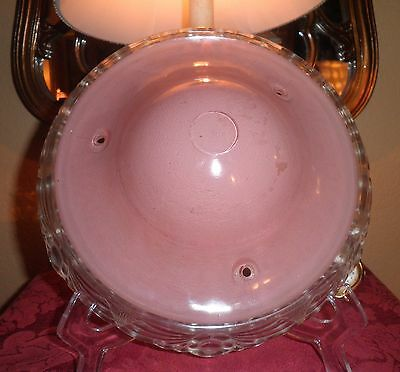 Stunning Vintage Art Deco Clear & Pink Glass 3 Chain Ceiling Light Fixture Shade