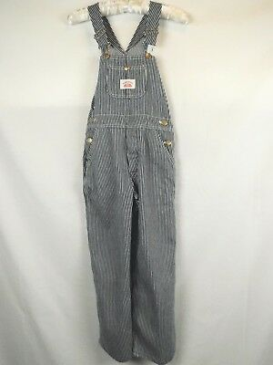 Boys Round House Conductor Railroad Blue & White Stripes Overalls Youth Size 10