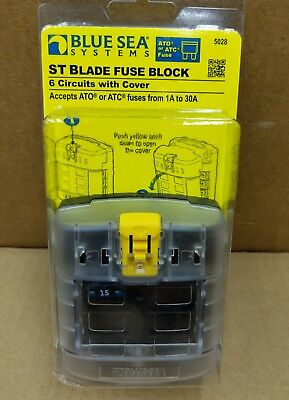 New Blue Sea 5028 B 6 Position Ato Or Atc Fuse Block With Cover Fuse Panel