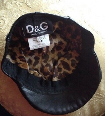 DOLCE & GABBANA Designer MADE IN ITALY Black Genuine Leather Cap NEW WITH TAGS