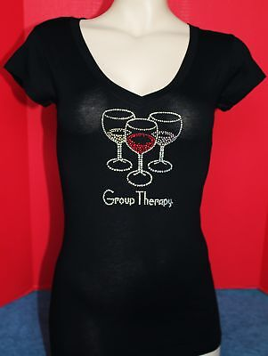 CLEARANCE RHINESTONE WINE THERAPY  JUNIOR  Vneck  SHIRT NEW