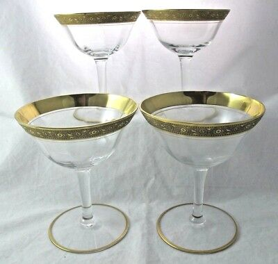 "Tiffin Franciscan Minton Champagne Tall Sherbet Clear Optic 4.75"" Gold Set Of 4"