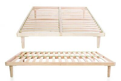 Beech Wood Bed Frame 140 x 190 cm Double Slatted Orthopedic Base Easy to Mount
