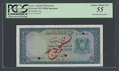 Syria Syrie 10 Lira 1950 P75s Specimen About Uncirculated