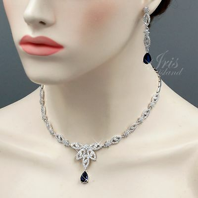 White Gold Plated Blue Cubic Zirconia Necklace Earrings Wedding Jewelry Set 1098