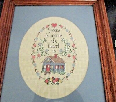 Cross Stitch Completed Finished Home Is Where The Heart Is Blue Hearts House