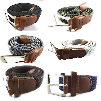 Golf Canvas Elastic Fabric Woven Solid Color Stretch Braided Belts S-XL 6 Colors