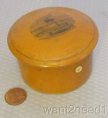 19C antique MAUCHLINE WARE THREAD BOX 3-spool holder French Cherbourg Napolean