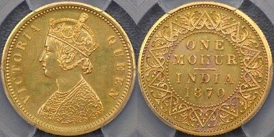 India, 1870 Young Bust Mohur Restrike - PCGS PR62