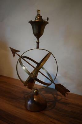Stunning Vintage Metal Armillary Nautical Sphere Globe Ball Oil Lamp
