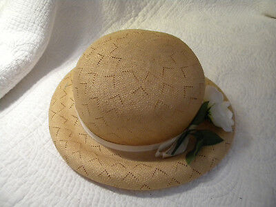 Vintage 1950 60s MARCHE' Natural Straw Hat W/ Fabric Band & Flower/EXCELLENT