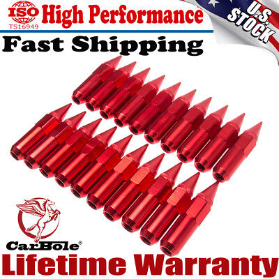 20Pc M12X1.5 Cap Spiked Extended Tuner 60mm Aluminum Wheels Rims Lug Nuts Red US