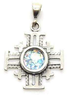 Ancient Roman Glass Jerusalem Cross pendant Sterling Silver necklace Holy Land