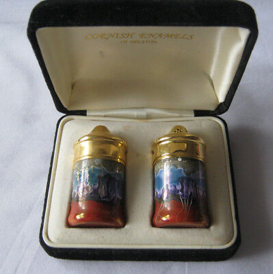 Cornishware Salt and pepper shakers Cornish enamels of Helston in box Vintage