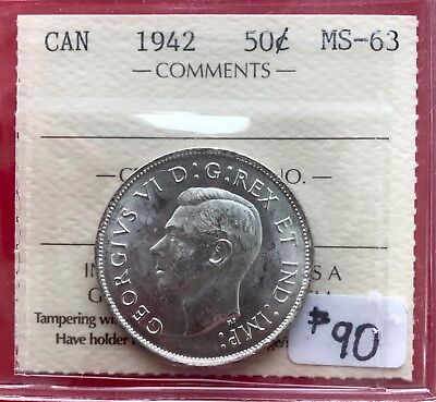 1942 Canada 50 Cent Coin Fifty Half Dollar MR846 - $90 ICCS MS-63 - Old Holder!