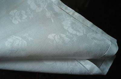 Vintage Set 8 Large Irish Linen Damask Napkins Poppies Roses Hemstitch 22""