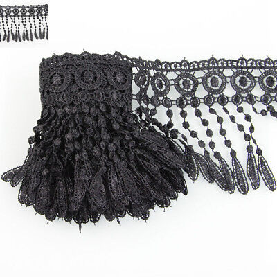 Black 3 Yards Polyester Lamp Fringe Venise Lace Trim Craft Wedding Bridal Decor
