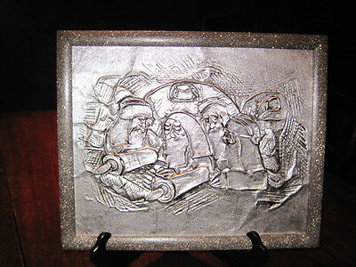 Prophets and the Scrolls relief artwork in metal