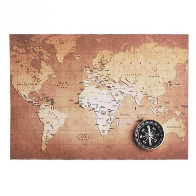 New Canvas World Map Retro Vintage Antique Poster Wall Sticker Chart Home Decor