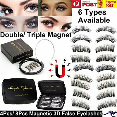 4-8Pcs Triple Double Magnetic 3D False Eyelashes Long Fiber Eye Lash Handmade