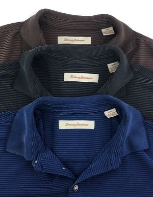 TOMMY BAHAMA Mens Lot Of 3 (M) Polo Shirts Short Sleeve Blue/Black/Brown