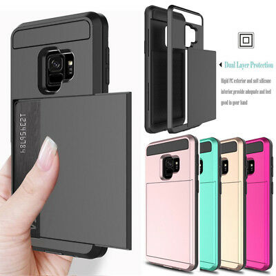 For Samsung Galaxy S9 S8 Plus Wallet Case Credit Card ID Holder Slim Case Cover