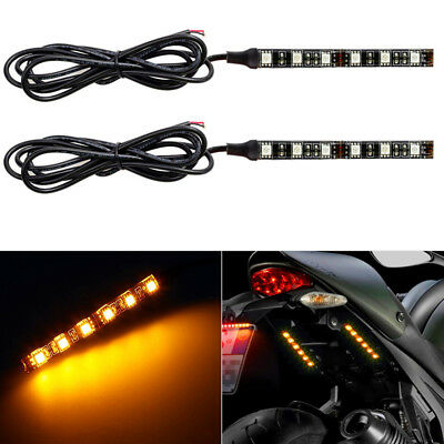 4 inch Motorcycle 6LED Turn Signal Tail Light Blinker Strip Amber Trailer Lights