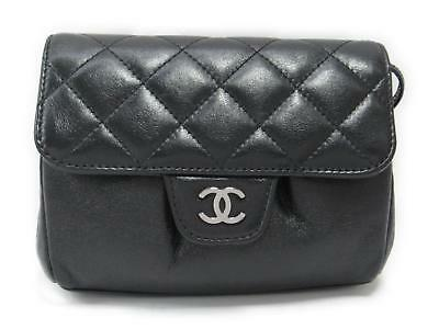 CHANEL Matrasse With Mirrors Pouch Leather Black