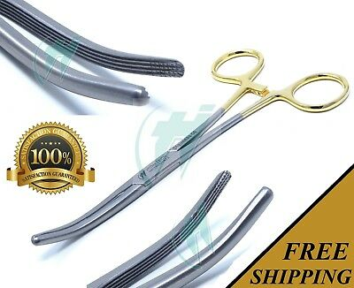 "Gold Handle Spay Pack Rochester Carmalt Forceps 6.25"" Curved Stainless Steel"
