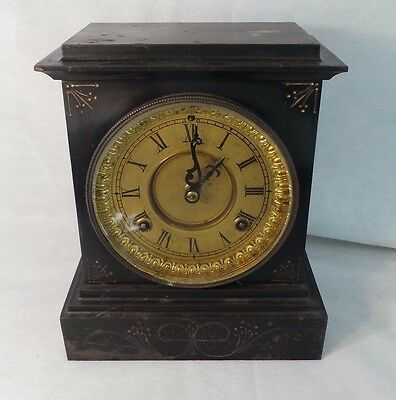 Antique Waterbury Mantle Clock With Metal Casing Usa