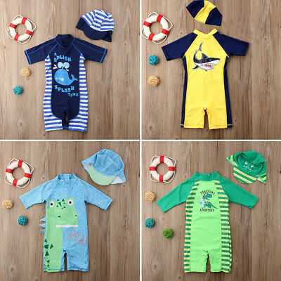 2PCS Baby Kid Boy Sun Protective Swimwear Rash Guard Costume Bathing Suits AU