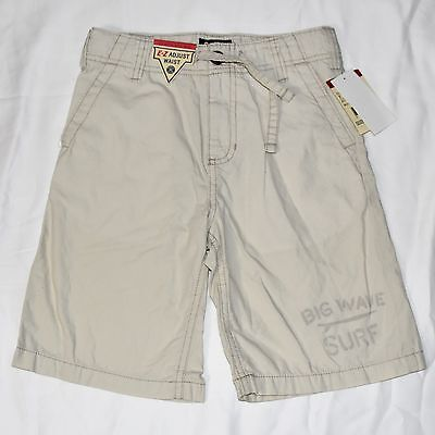 OSH KOSH Bgosh NEW Boys Surf Shorts 7 Off White Tan Adjust Waist 100% Cotton