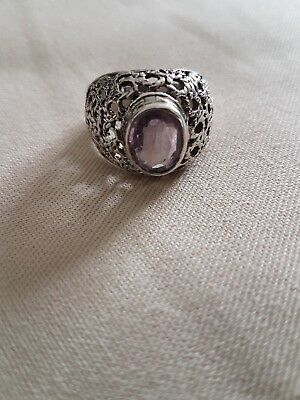 Sterling Silver Ring With Semi Precious Stone Amethyst
